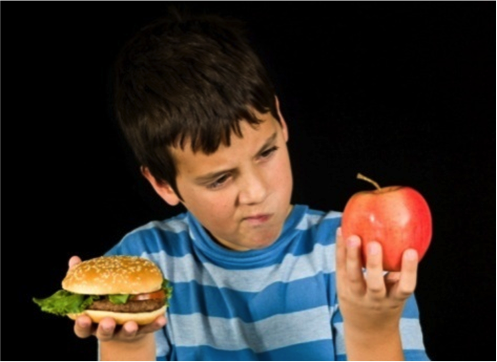 Child apple vs hamburger