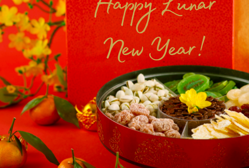 Tray of Togetherness - a red tin filled with symbolic sweets to celebrate the Lunar New Year