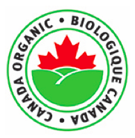 logo for organic products; logo is top half of a red maple leaf above a green field