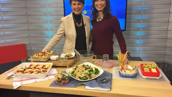Registered Dietitian Sue Mah shows TV host Annette some healthy snack ideas for work.