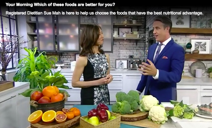 Registered Dietitian Sue Mah quizzes TV host Ben Mulroney about which foods might have a nutritional advantage.
