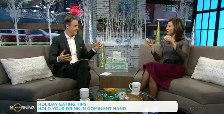 Sue Mah dietitian with TV host Ben Mulroney chatting about holiday eating tips.