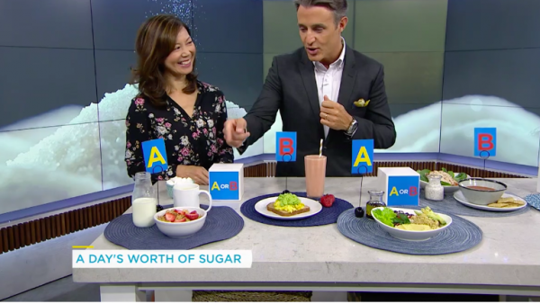 Registered Dietitian Sue Mah quizzes TV host Ben Mulroney on the sugars in different meals.