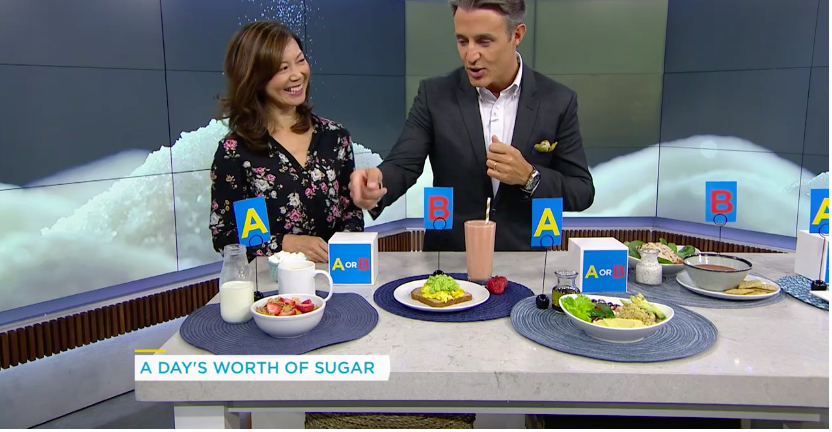 Registered Dietitian Sue Mah quizzes TV host Ben Mulroney about sugars in different meals.