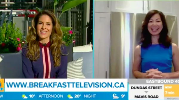 TV host Dina Pugliese interviews dietitian Sue Mah in Sue's kitchen