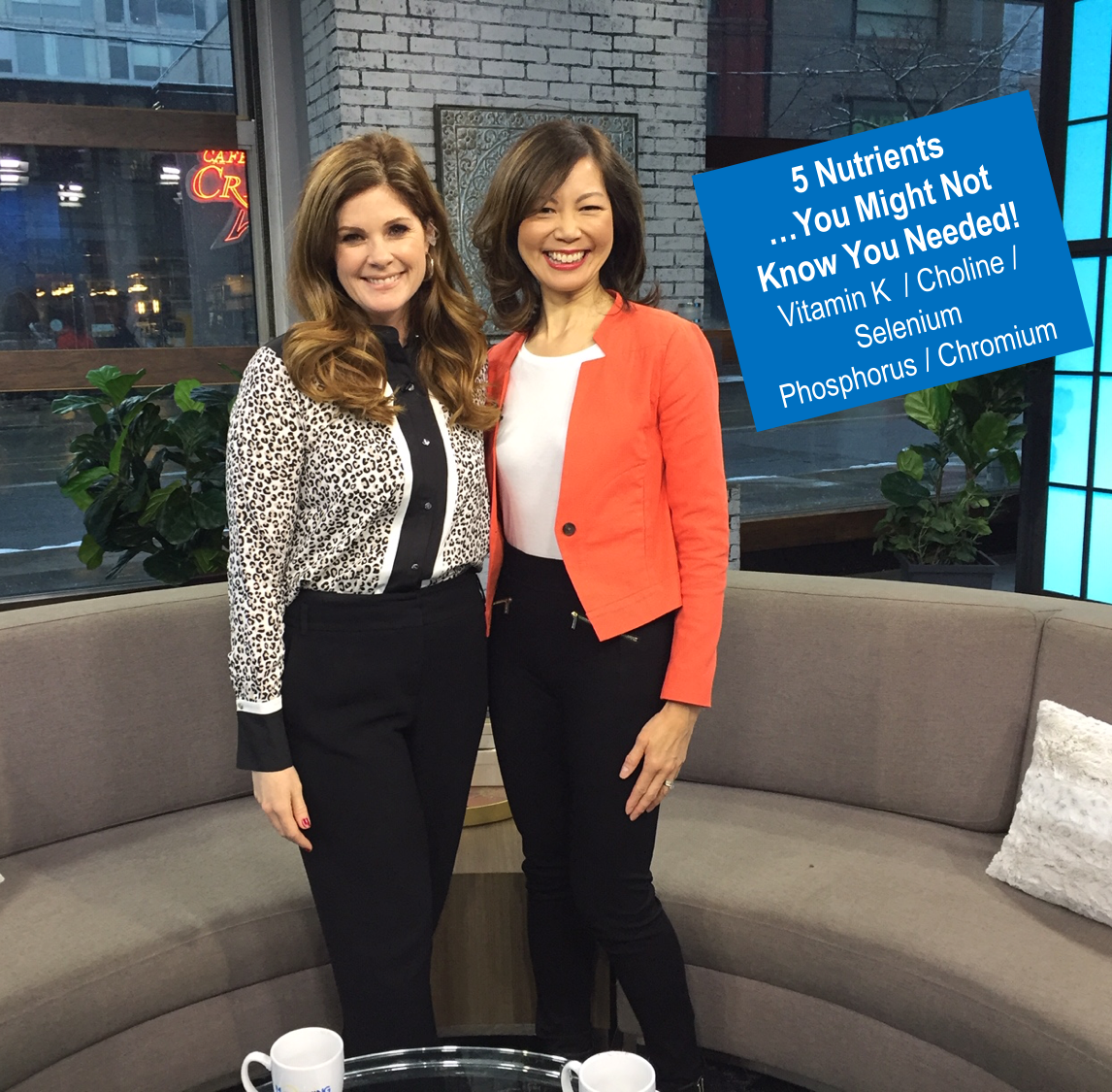 TV host Lindsey Deluce standing beside deititian Sue Mah in front of sofas