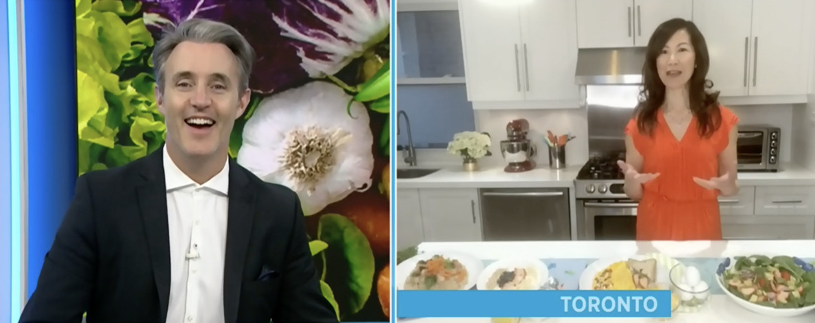 TV host Ben Mulroney and dietitian Sue Mah on a split screen during a TV interview