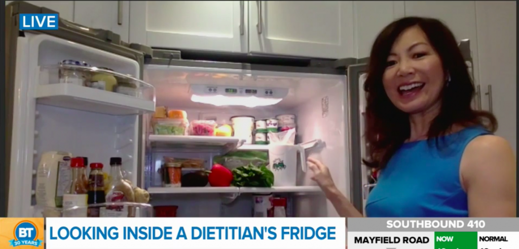 Dietitian Sue Mah talking about foods in her fridge