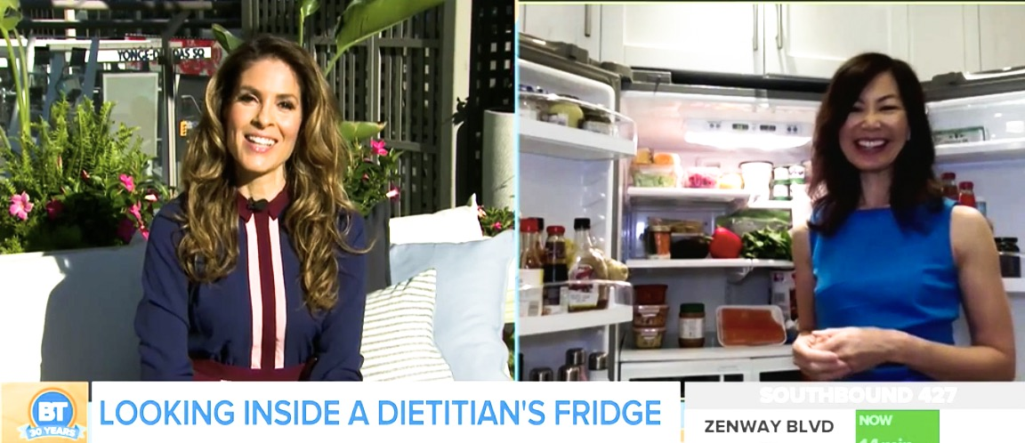 TV host Dina Pugliese chatting with dietitian Sue Mah who is in her kitchen