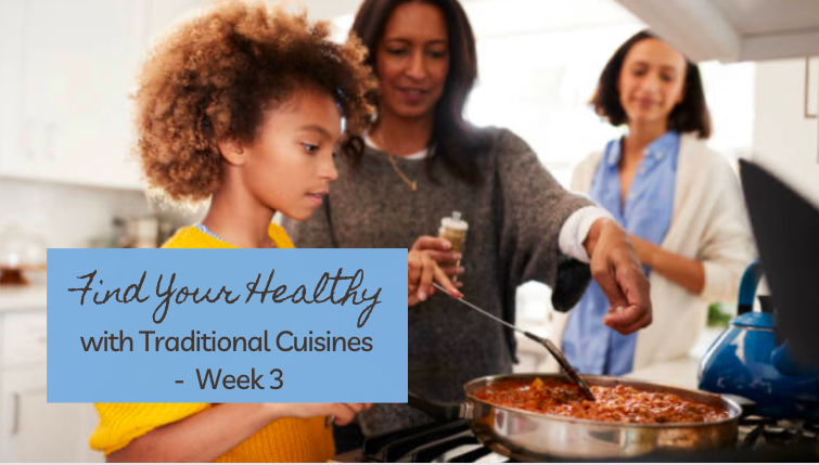 A pre-teen girl from an African cultural background learning to cook from her mother and grandmother