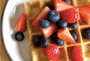 Zucchini Waffles with Fresh Berries