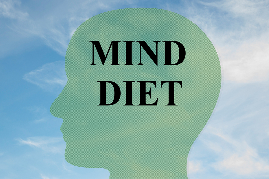 "Render illustration of ""MIND DIET"" title on head silhouette with cloudy sky as a background."